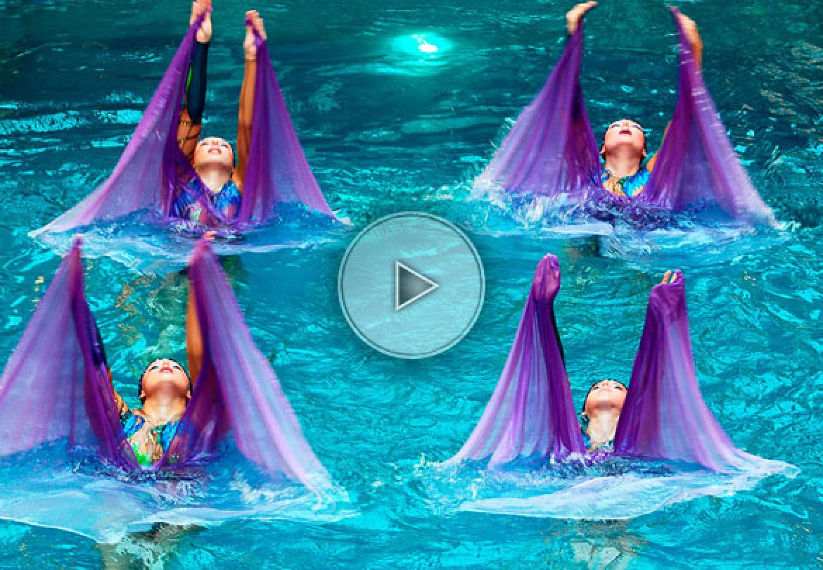 aquatic troupe, aquabatic troupe, water troupe, swimmers, swimming troupe, water ballet, water dancers