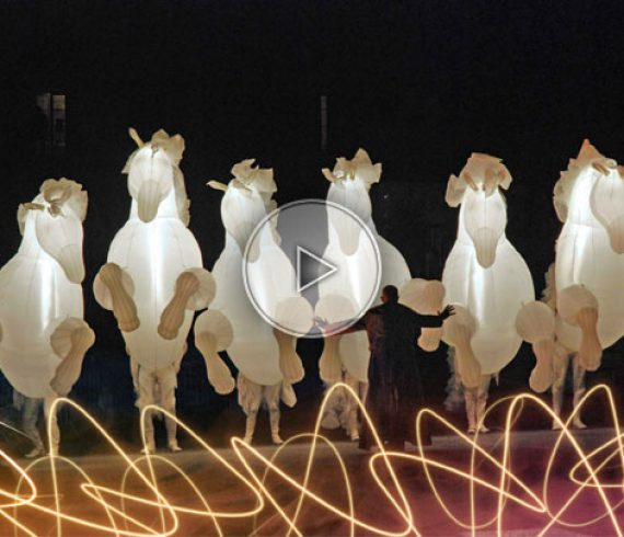 lighting horses, white horses, inflatable horses, horses, horse parade