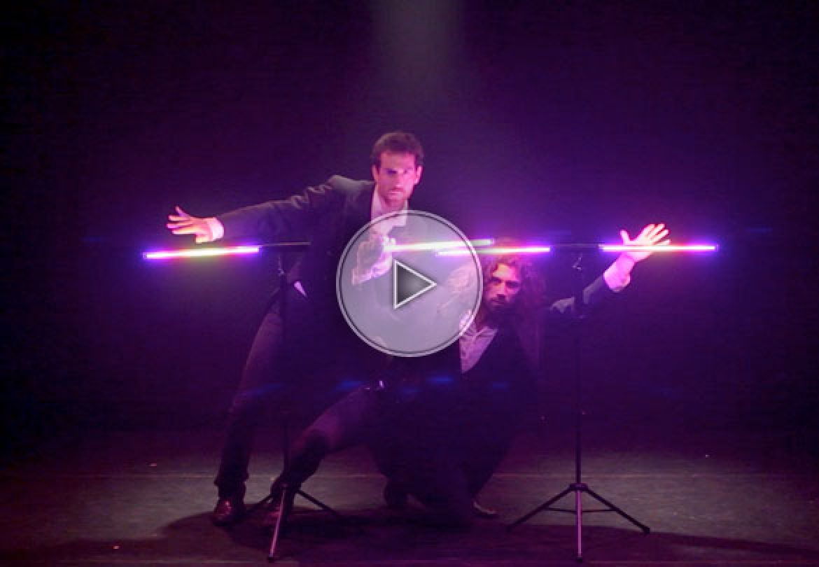 Comedy lighting jugglers, comedy light jugglers, comedy LED jugglers, LED juggling, comedy jugglers