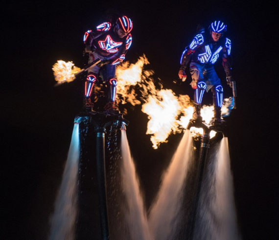 Water event, sport event, sea event, ocean event, water themed event, fly boarding, flyboarders, LED flyboard, LED flyboarders, fire torches
