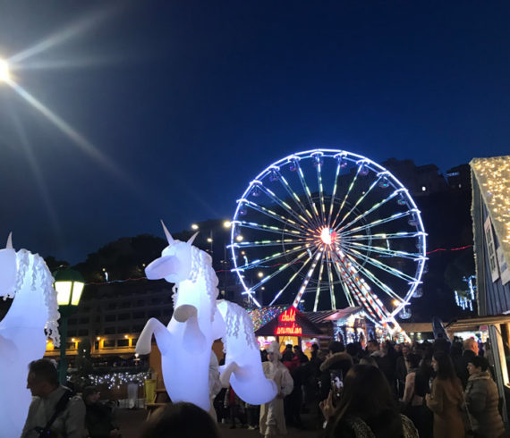Unicorns, lighted unicorns, led unicorns, Christmas market, Christmas Monaco, lighted horses, horses event, led horses, inflatable horses, inflatable unicorns
