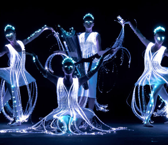 Dance performance, pixel, led dance, led dancers, led ballerinas, light show, night show, light dance, lighted dancers, lighted ballerinas, tron ballerinas, tron ballet, iron dance, laser ballerina, electro lighted show