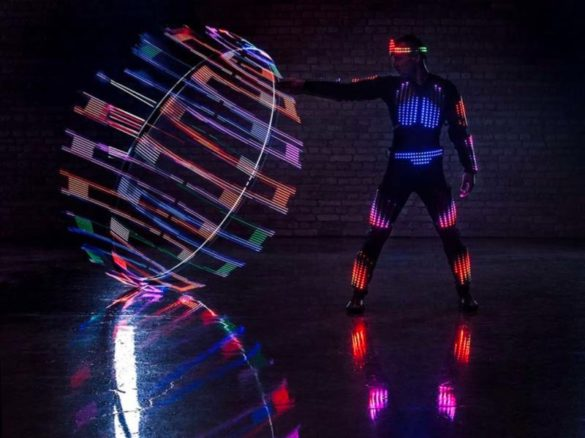 Pixel show, pixel man, pixel act, Cyr wheel, Cyr led wheel, led wheel, wheel show, led show, pixel light show, wheel light show