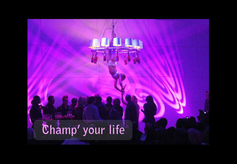 aerial champagne, champagne, chandelier, waiter, waitress
