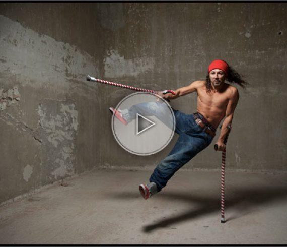 crutches artist, crutch performer, crutch act, crutches act, crutches acrobat