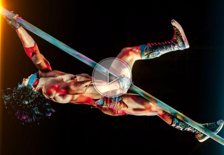 pole gladiator, gladiator, gladiator performer, aerial gladiator, pole actn, chinese pole