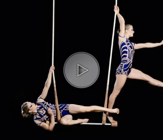 trapeze act, trapeze sisters, trapeze twins, trapeze performers