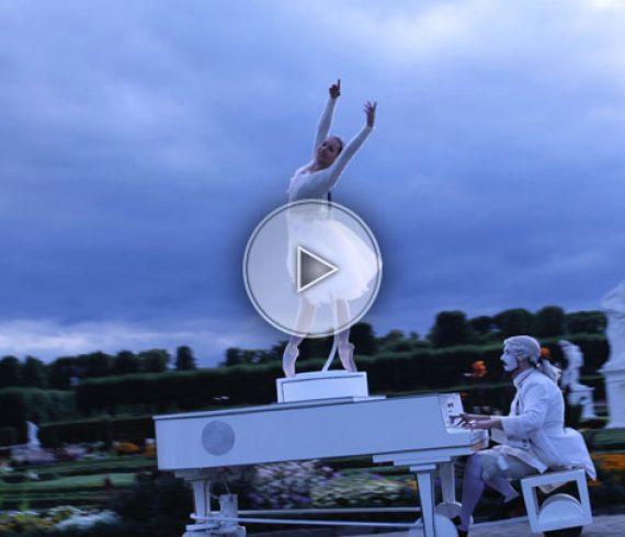 ballerina, piano, ballerina moving piano, moving piano, white piano, dancer
