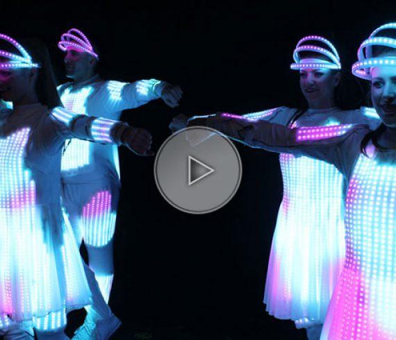 lighting suit dancers, logo dancers, display suits, video suits, logo dresses, logo costumes, display costumes, lighting costumes