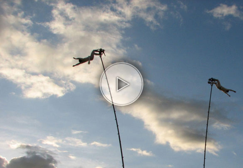 flying dancers, high pole dancers, pole dancers, air dancers, pole acrobats, aerial acrobats