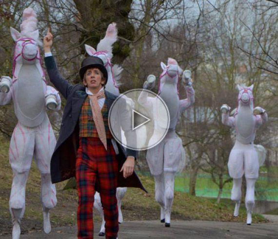 horse parade, horse stilt walkers, horses parade, horses, horse walk about, horses walk about