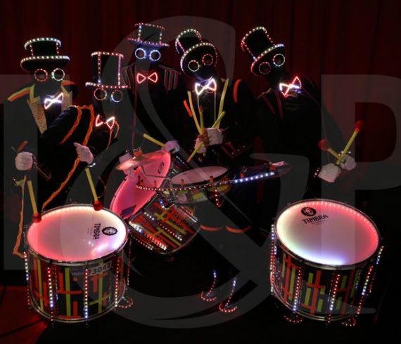 Lighting drummers, bombay, mumbai, glow in th dark, drums, girl's birthday, drums show