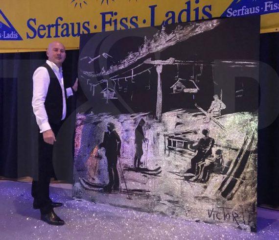 austria art performance, austria painting, glue and glitters, speed painter, fiss event, tyrol event