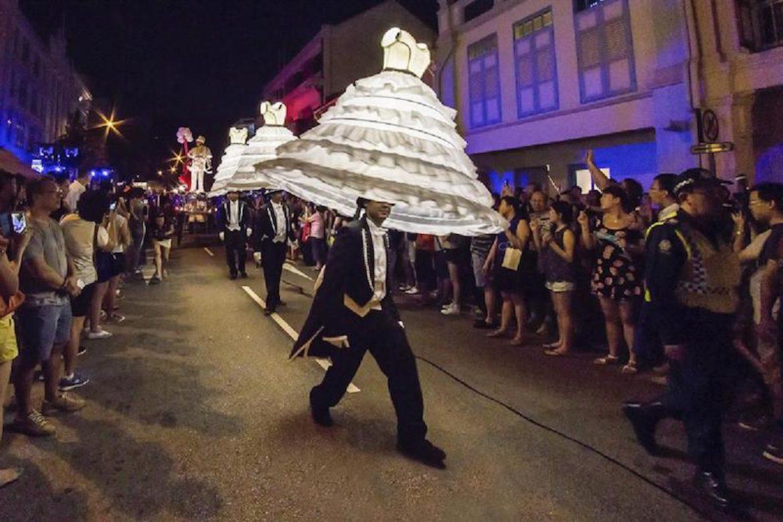 lighting dresses, lights, dresses, wedding dresses, band, brass band, lighting brass band, walkabout band