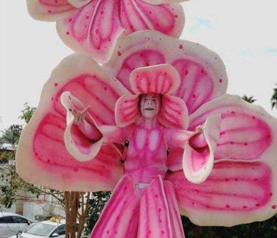 living flower, giant flower, flower walk about, pink flower, street artist flower, living flower